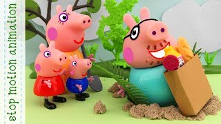The trap Peppa Pig toys stop motion animation in english