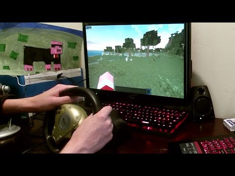 beating minecraft hardcore mode with a steering wheel