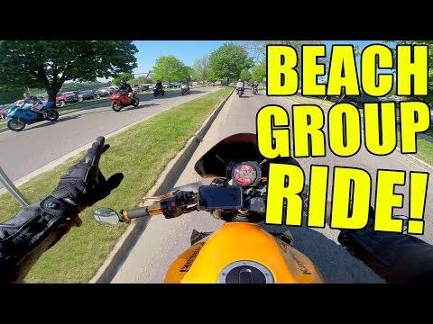 Beach Group Ride, Wheelies, Revvin' The Funk OUT! - Motovlog