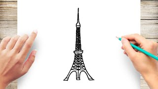 How to Draw Tokyo Tower Step by Step