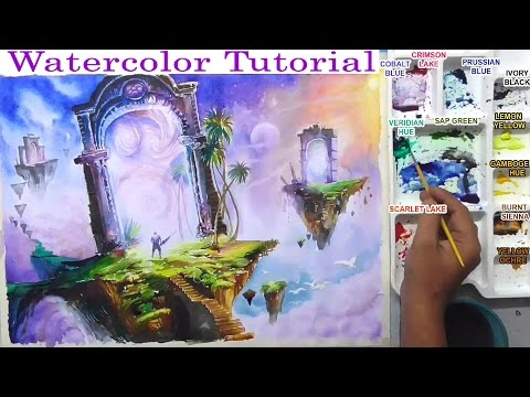 watercolor painting fantasy world landscape in colorful sky