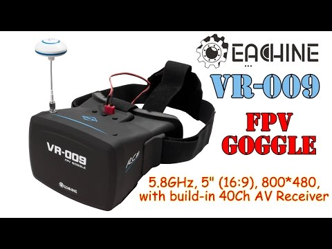 """Eachine VR-009 5"""" FPV Goggles with Built-in 40Ch 5.8GHz A/V automatic search receiver"""