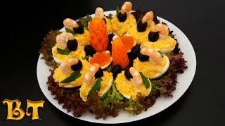 """Праздничная закуска """"Морские гнёзда"""" (фаршированные яйца). С Новым годом!"""