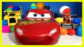HUGE Disney Cars Egg Surprise Opening - LIGHTNING McQUEEN Frank Tractor Tipping Colossus Compilation