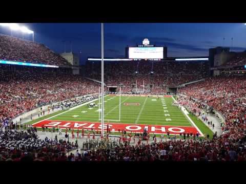 Ohio State Marching Band O H I O Cheer with Cell Phone Lighting Around the Stadium 10 29 2016 OSU vs