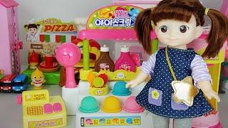 Baby doll and Ice cream shop toys mini mart cash register play - ToyMong TV 토이몽