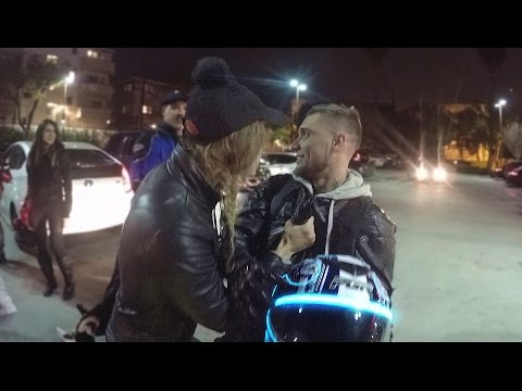 Crazy Chick Tries To Pick Up Guy On Motorcycle