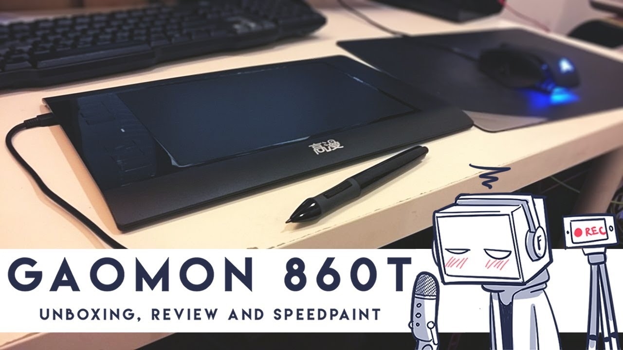 unboxing and reviewing the Gaomon 860T graphic tablet then drawing something on it