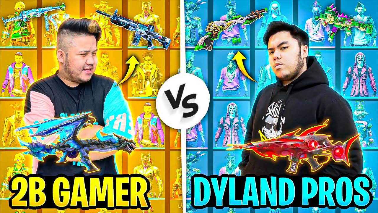 DYLAND PROS😯 VS 2B GAMER👑 ||MUST  RARE COLLECTION BETWEEN  TWO RICHEST PLAYER OF FREEFIRE