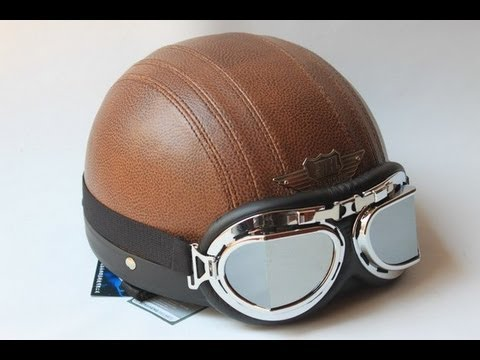 Pu Leather Vintage Harley Style Motorcycle Helmet Youtube
