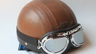 PU leather vintage harley Style motorcycle helmet by thebeijingshop.com