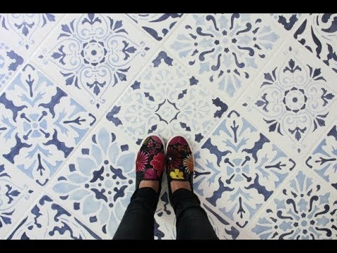 How To Paint A Tile Floor Design With Floor Stencils Youtube