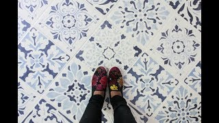 How to Paint a Tile Floor Design with Floor Stencils