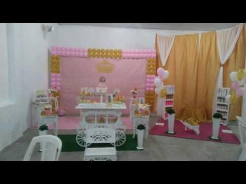 Montando uma festa simples do tema Realeza/rosa e dourado