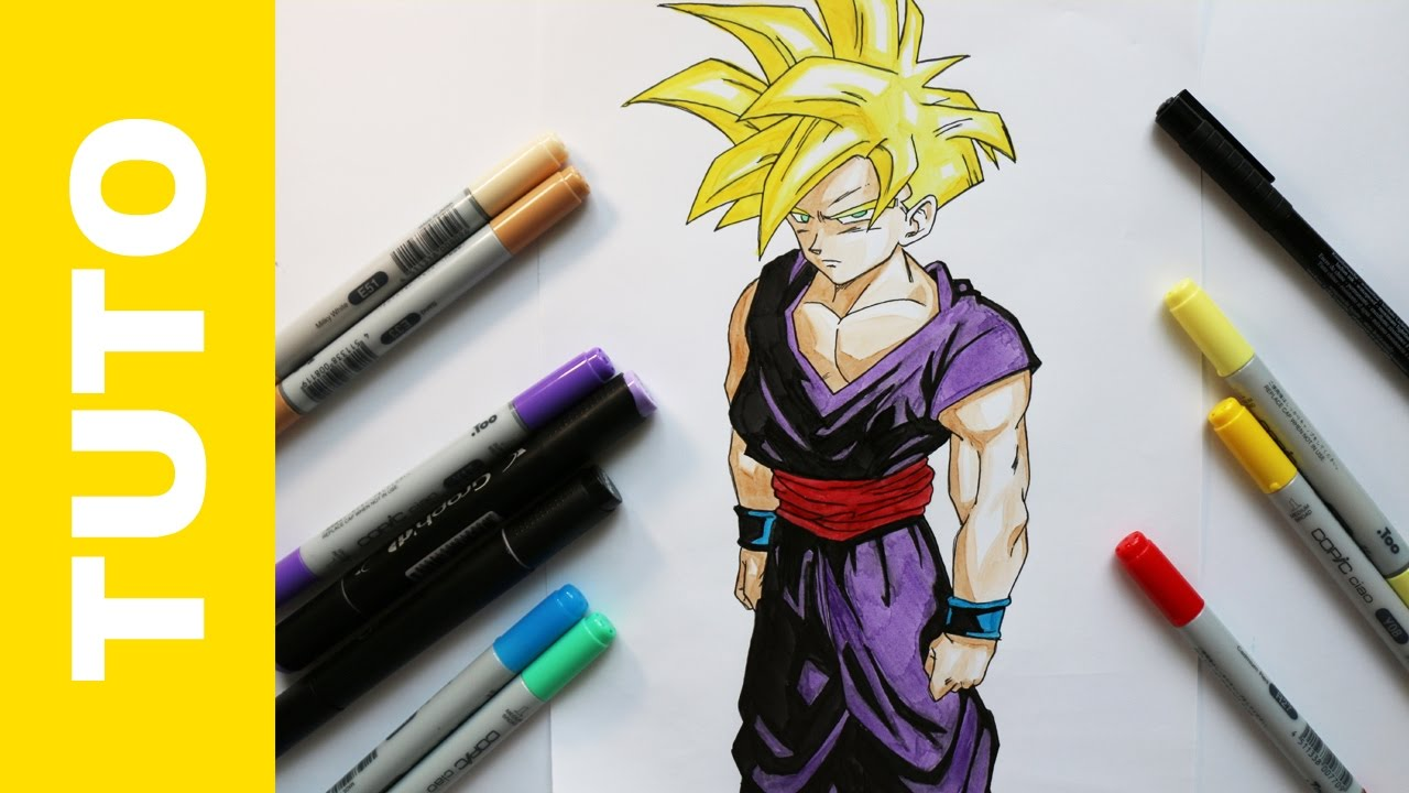 Tutorial how to draw gohan dragon ball z comment - Dessiner dragon ball z ...