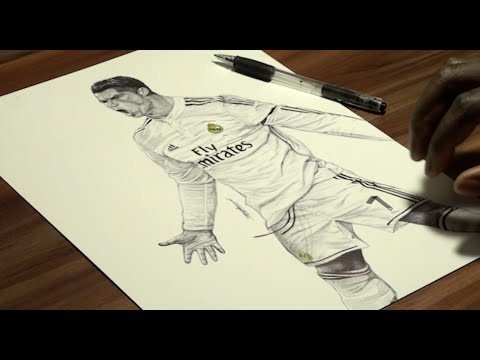 Cristiano Ronaldo Pen Drawing Real Madrid C F Demoose Art Youtube