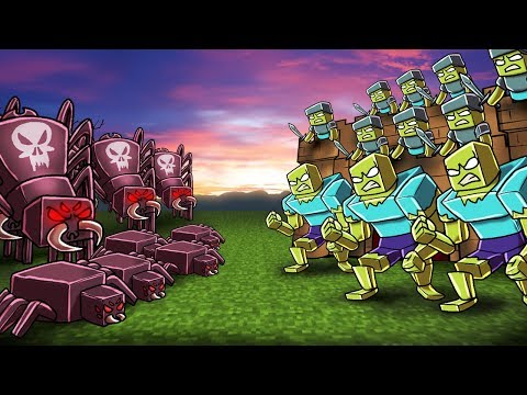 Minecraft | ZOMBIE ARMY VS SPIDER ARMY! (Massive Mob Battles)