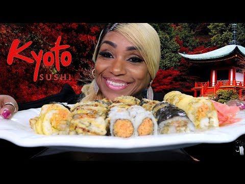 Kyoto Sushi Rolls Mukbang: King Crab Roll, Spider Roll, American Roll