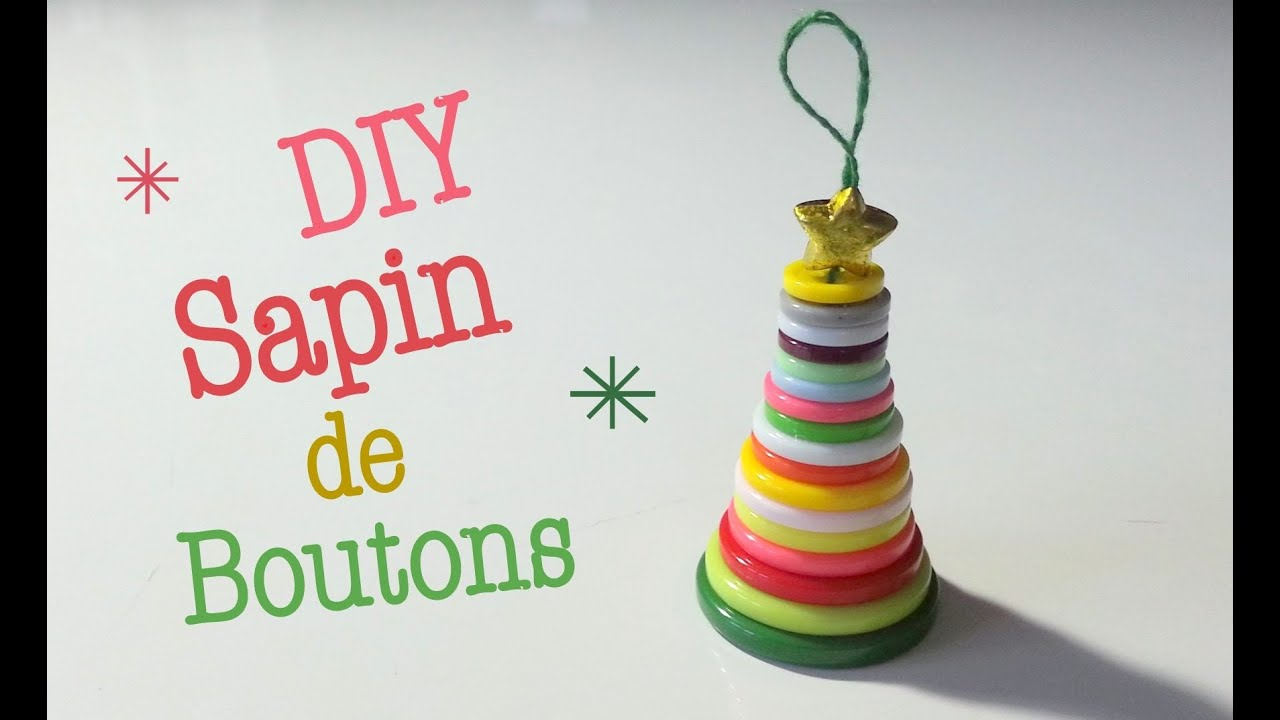 Diy d co noel le sapin de boutons youtube for Sapin de noel decore