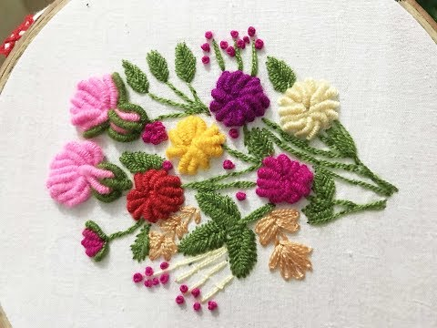 Hand Embroidery Billion knot flower stitch Design video tutorial. thumbnail