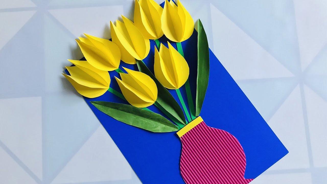 3D ОТКРЫТКА С ТЮЛЬПАНАМИ своими руками ПОДАРОК МАМЕ Beautiful Handmade Birthday card (Эмилия)