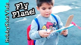 HobbyPig Flies Wood Airplane! Fun Toy Hobby Arts and Crafts by HobbyKidsVids