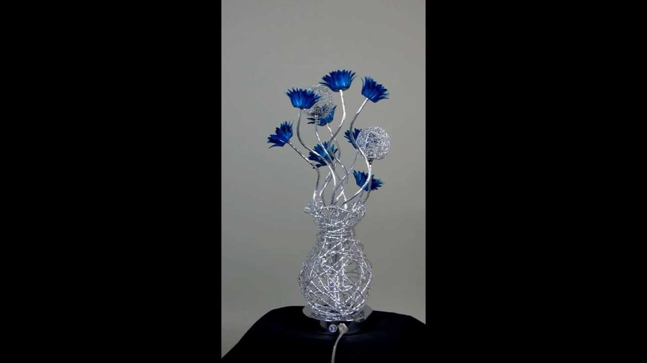 Woven wire table lamp silver with blue delicate flowers turned woven wire table lamp silver with blue delicate flowers turned off wirelampsdirect greentooth Image collections
