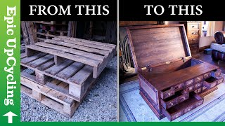 Steampunk Apothecary Chest Coffee Table Made From Pallet Wood and Recycled Copper.
