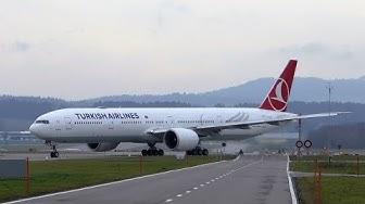 Turkish Airlines Boeing 777 takeoff at Zurich Airport