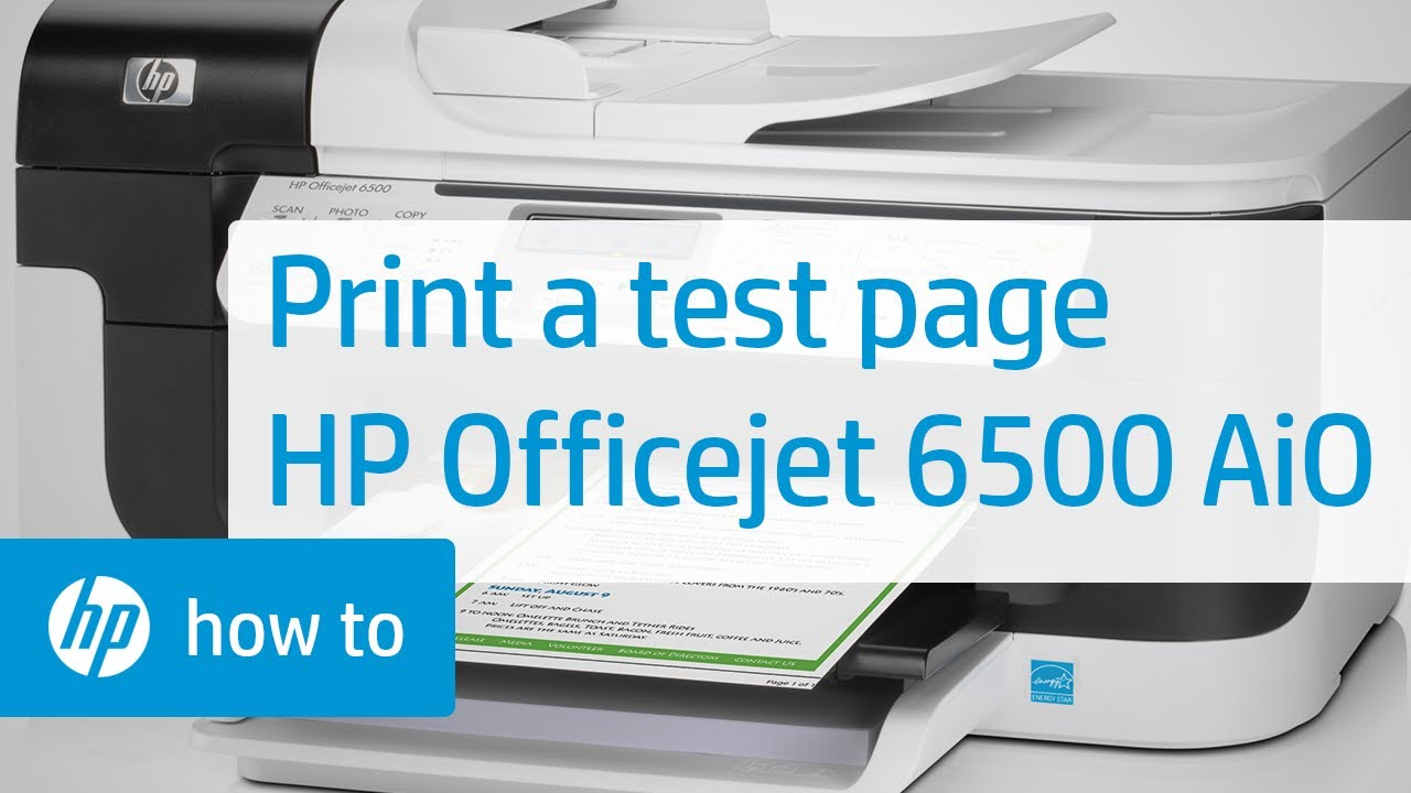 Printing A Test Page Hp Officejet 6500 All In One Hp