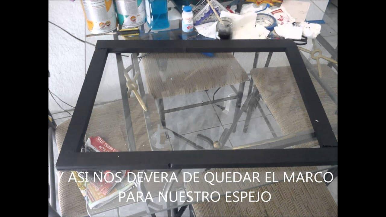 Marco para espejo con madera reciclada muy facil y bonito for Como hacer un espejo con marco de madera