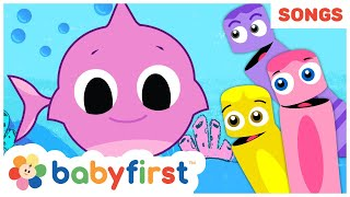 Baby Shark Song w Color Crew | Summer Songs Compilation | BabyFirst TV Songs for Children