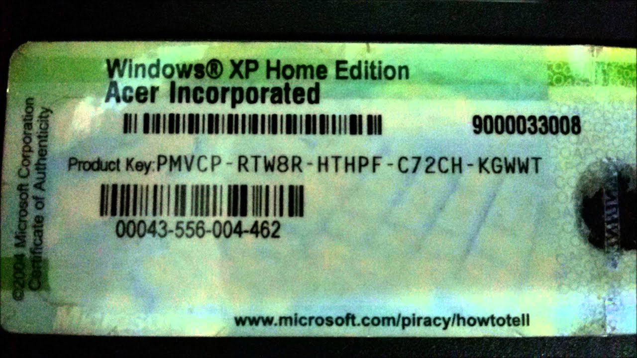 Windows Xp Home Edition Key ( Acer Incorporated) - YouTube