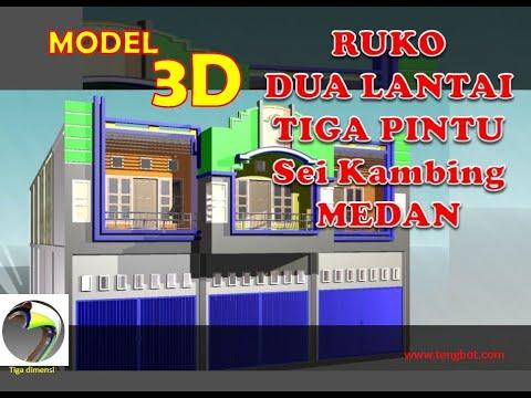 model 3d ruko 3 pintu 2 lantai di sei kambing medan sumut