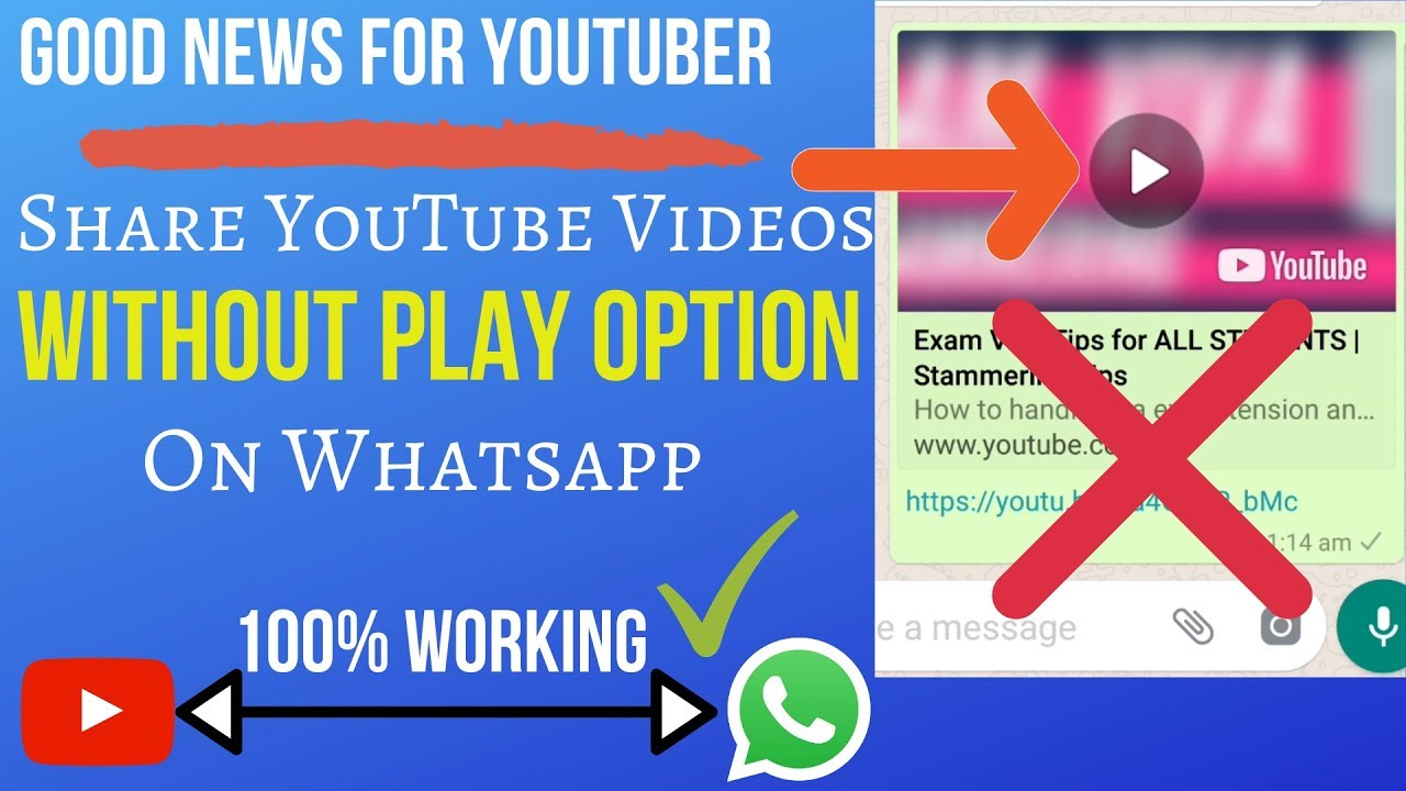 Without Play Option Share Youtube Videos On Whatsapp 100 Working Trick Youtube