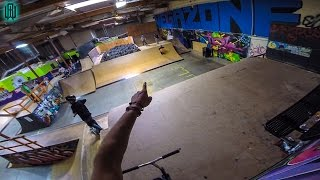 CRAZY SCOOTER WALL RIDE STUNT IN AWESOME SKATE PARK!!