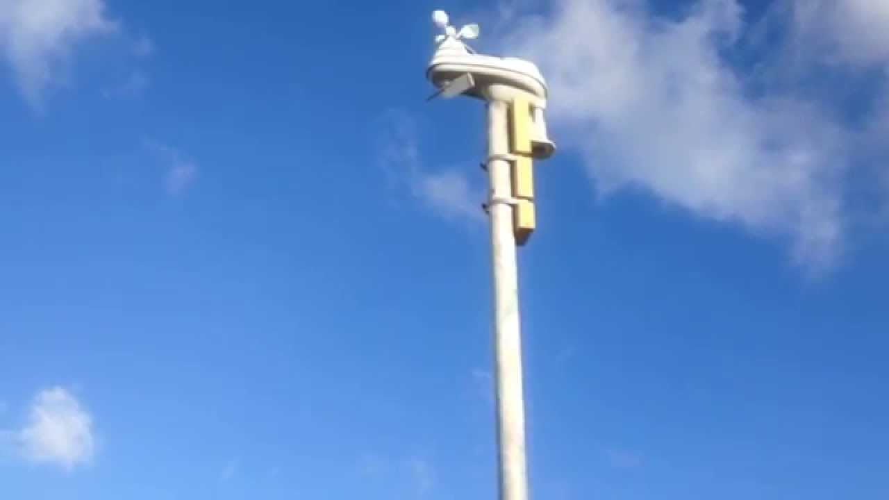 Backyard Weather Station Accentuating Wind And Solar Energy Production.