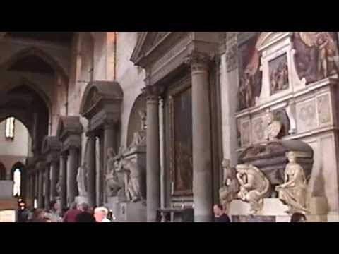 Tombs of Michelangelo and Dante in the Basilica of Santa Croce, Florence, Italy