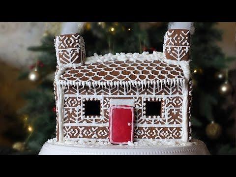 Shetland Croft Gingerbread House with Fair Isle Pattern Decoration
