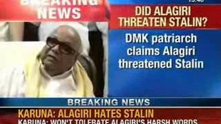 NewsX: Karunanidhi justifies, son MK Alagiri suspension from all DMK posts.