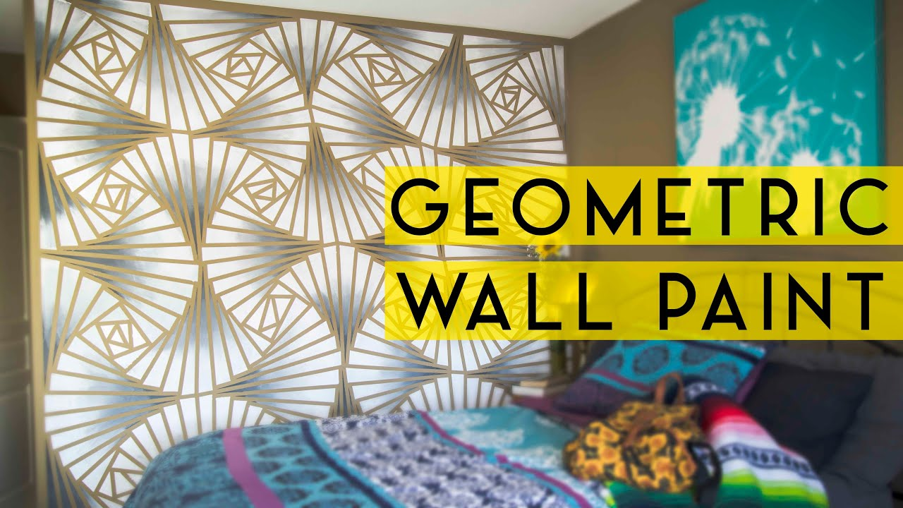 Painted Wall Designs Diy Geometric Wall Paint Youtube
