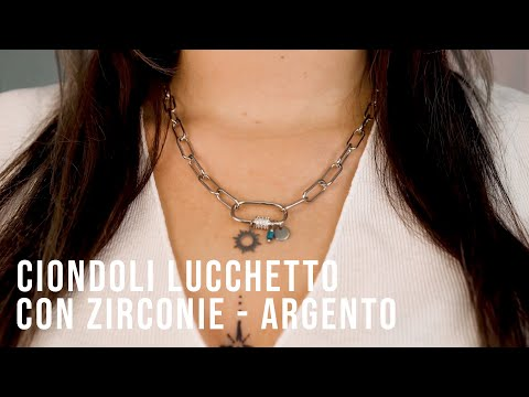 Creare gioielli must have con Ciondoli lucchetto con zirconie - Argento