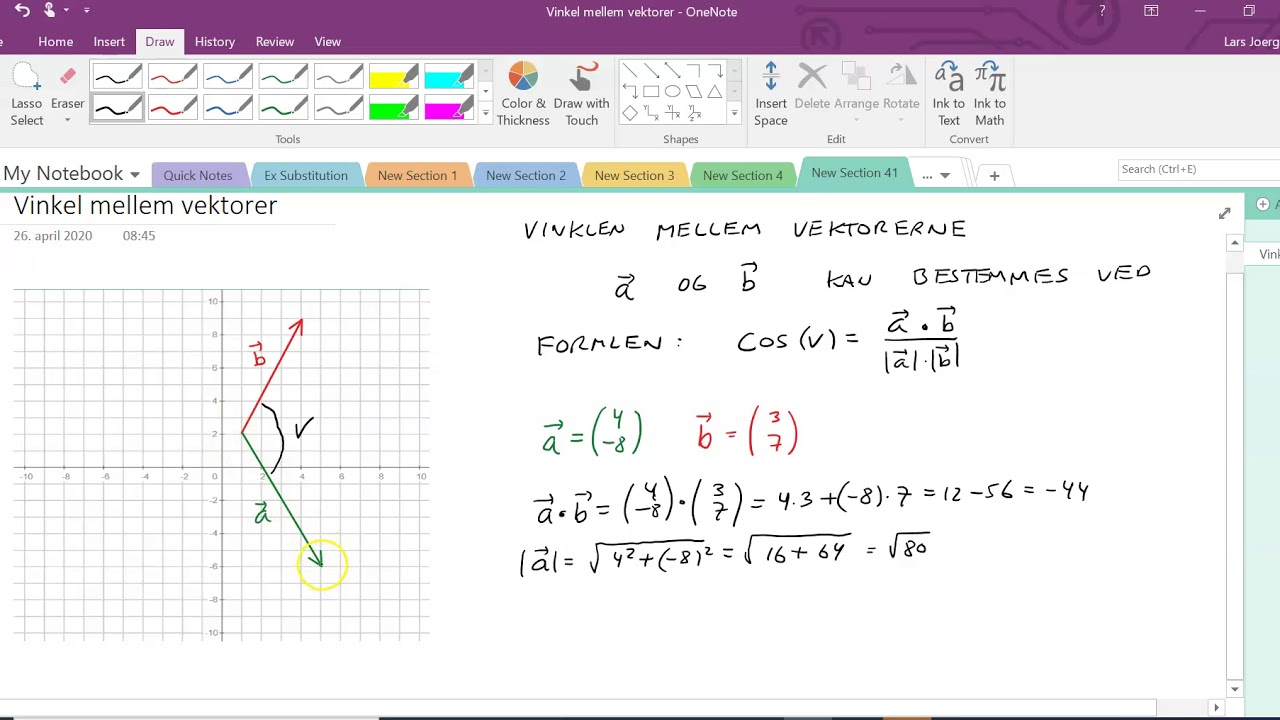 Vektor. Vinkel ml vektorer. Ex