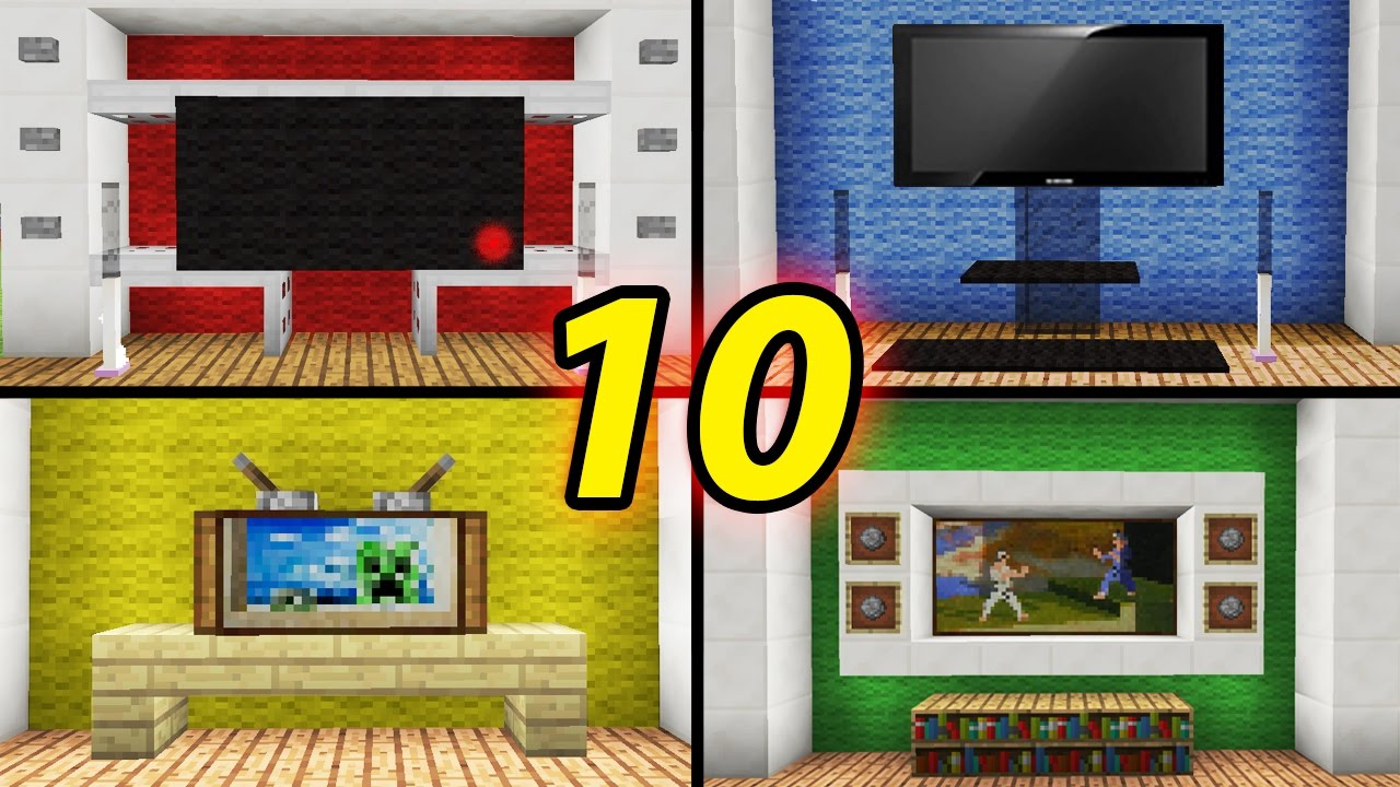 10 tv designs to improve your house in minecraft how to for Minecraft modern house designs easy