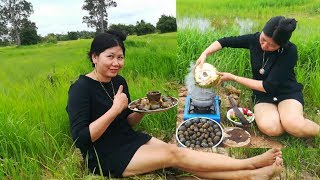Village Food Factory Asia: Cute Girl Steam Snail in Farm With Coconut