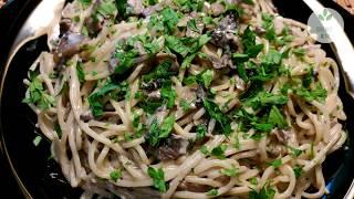 СПАГЕТТИ с шампиньонами со сливками и сыром - ВКУСНОЕ БЛЮДО с грибами