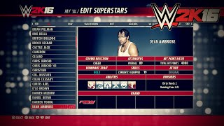 WWE 2K16 ALL Superstar Overalls & Stats