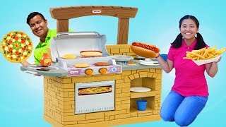 Funny Auntie Joyce Pretend Play Cooking with BBQ Fun Toy Playset
