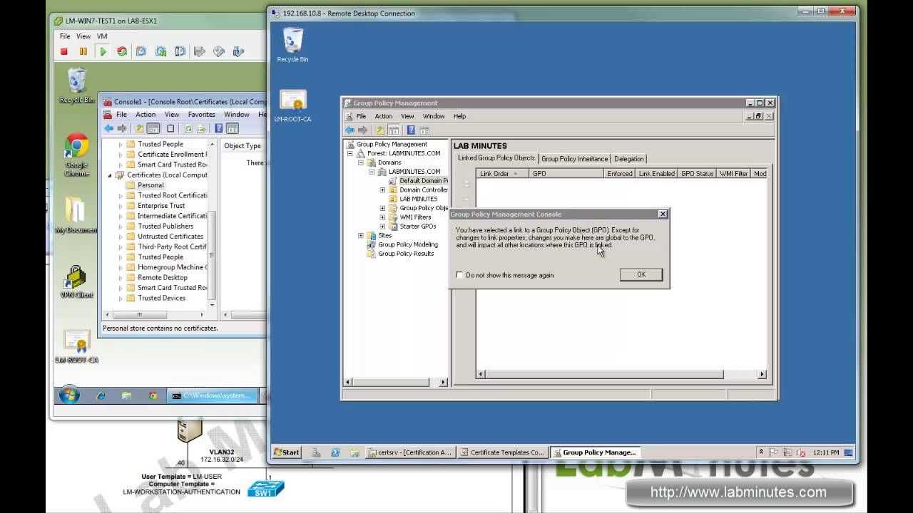 LabMinutes# SEC0029 - Windows 2008 CA User and Computer Certificate  Auto-Enrollment