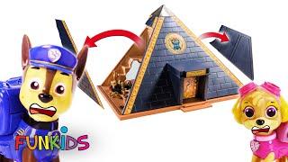 Paw Patrol Explores Playmobil Egypt Pyramid - Toy Video
